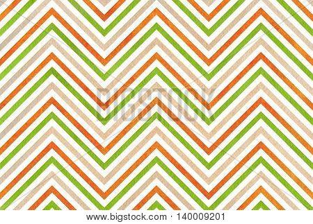Watercolor Green, Orange And Beige Stripes Background, Chevron.