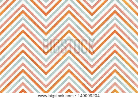Watercolor Pink, Blue And Orange Stripes Background, Chevron.