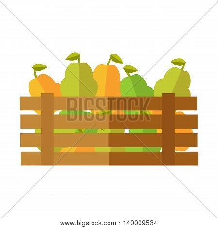 Fresh pear at the market vector. Flat design. Delivery farm products, grocery store assortment, foods for diet concept. Illustration of wooden box full of ripe vegetables. Isolated on white.