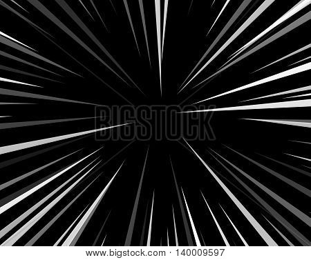 Comic book explosion superhero pop art style black and white radial lines background. Manga or anime speed frame.