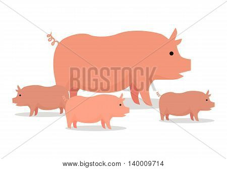 Pig with piglets llustration. Vector in flat style design. Domestic animal. Country inhabitants concept. Picture for farming, animal husbandry, meat production companies. Isolated on white background.