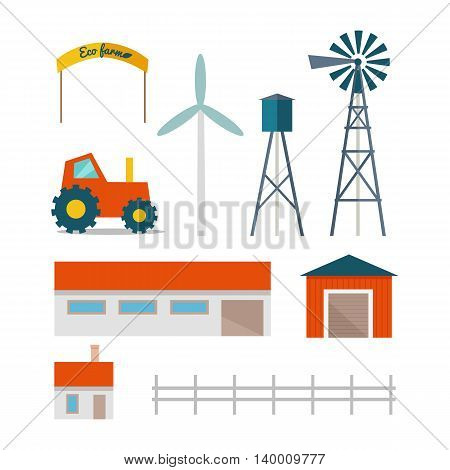 Set of farming buildings, technical structures and machines in flat design. Vector of tractor, house, garage, barn, wind pump, wind turbine, water tower.  Elements for traditional farm illustrating.