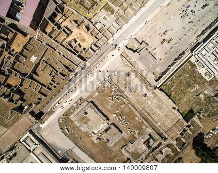 Top View of Ruins of Pompeii, Italy