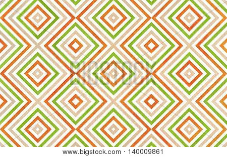 Geometrical Pattern In Beige, Orange And Green Colors.