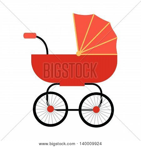 Classic red baby carriage vector in flat style. Newborn happiness concept for parents party, baby shower invitation card. Child transportation and family walks illustration. On white background.