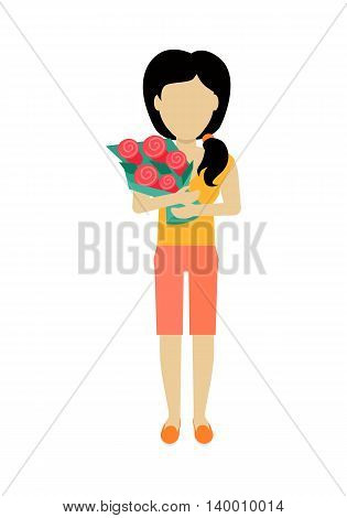 Female character without face with flowers vector in flat design. Woman template personage figure illustration for dating services, womens holiday, birthday concepts, logos. Isolated on white.