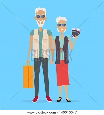 Travel in old age vector concept. Flat design. Elderly couple with baggage and documents going on journey. Grandparents summer vacation. Picture for travel agency ad, recreation retired illustrating.