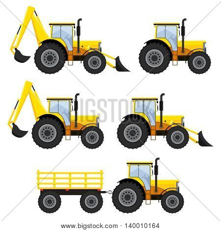 Set of construction vehicles and tractors on the white background.
