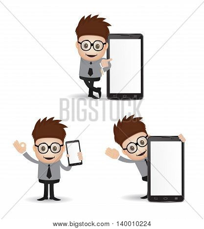young bussiness man character holding android isolated