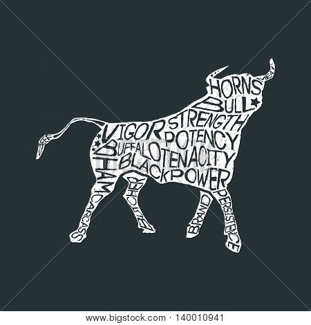 Typography monochrome vintage poster with bull silhouette, and hand drawn style font. Vector Illustration lettering.