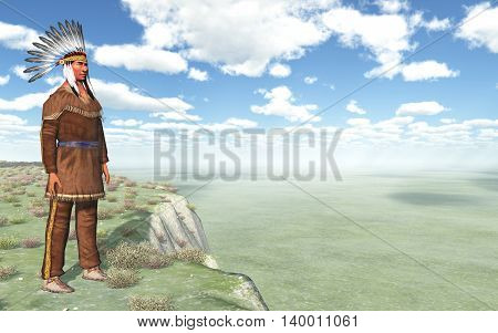 Computer generated 3D illustration with a Plains Indian