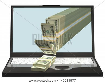 Money pouring out from a notebook computer 3D illustration