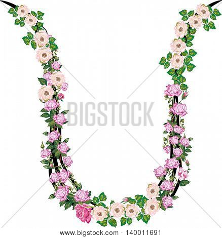 illustration with letter U from rose and brier flowers isolated on white background