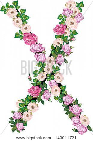 illustration with letter X from rose and brier flowers isolated on white background