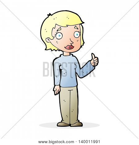 cartoon woman giving thumbs up symbol