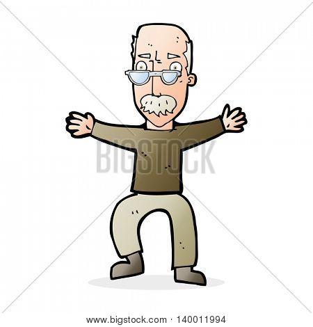 cartoon old man waving arms