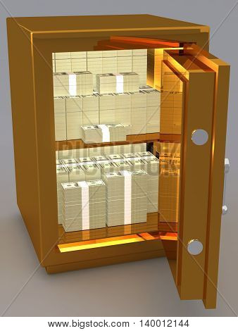 3D Rendering Of A Open Metal Safe With a bundle of banknotes Of Dollars 3D illustration