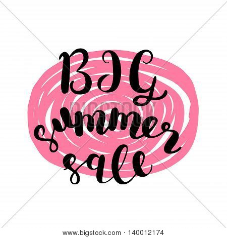 Big summer sale. Brush hand lettering modern calligraphy.