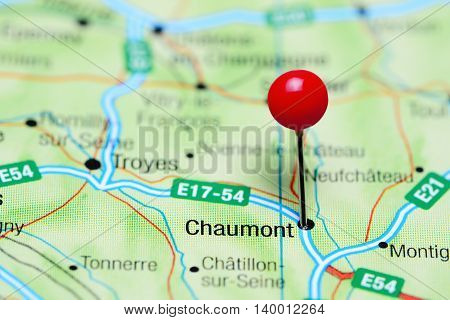 Chaumont pinned on a map of France