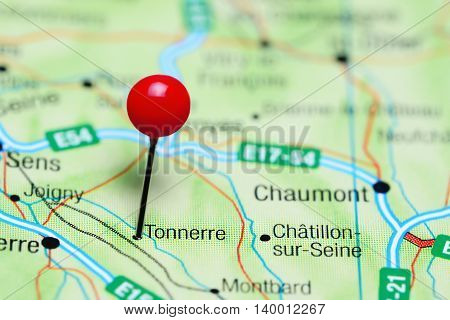 Tonnerre pinned on a map of France