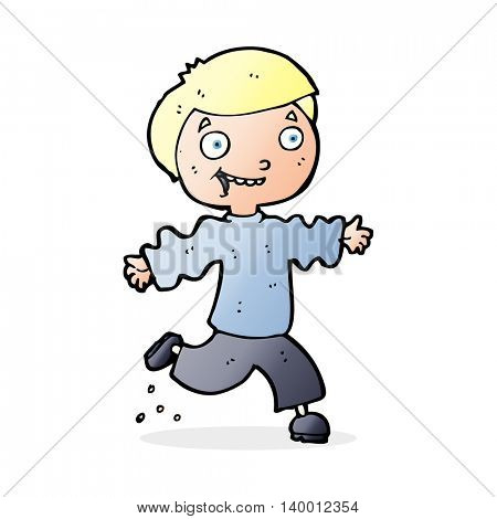 cartoon excited boy