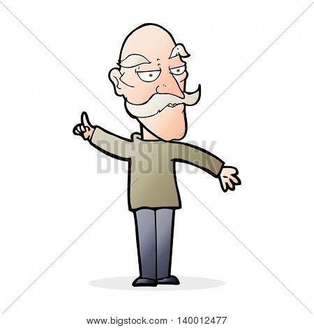 cartoon old man telling story
