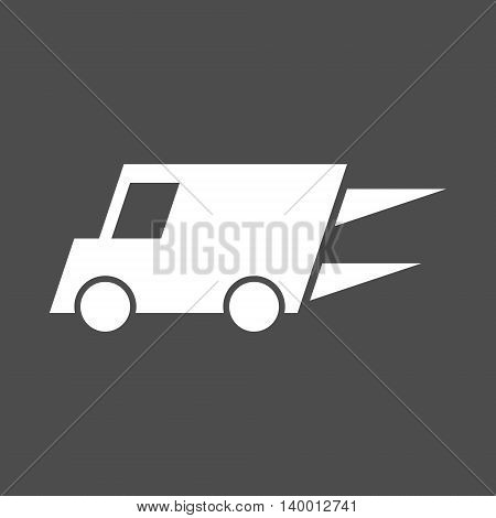 Fast delivery white van icon. Isolated vector illustration.