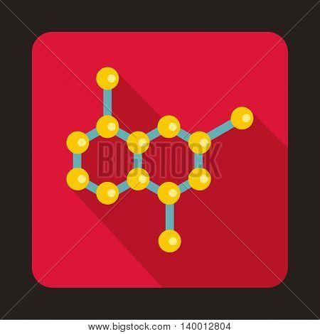 Crystal lattice icon in flat style on a crimson background