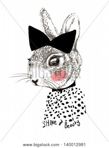 fashion rabbit with ribbon