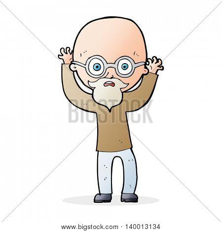 cartoon stressed bald man