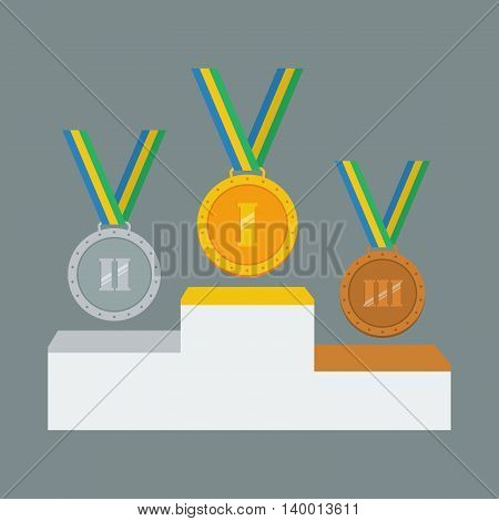 Gold silver and bronze medals on white pedestal. Vector illustration