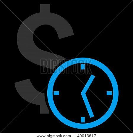 Dollar Credit vector icon. Style is flat symbol, blue color, black background.