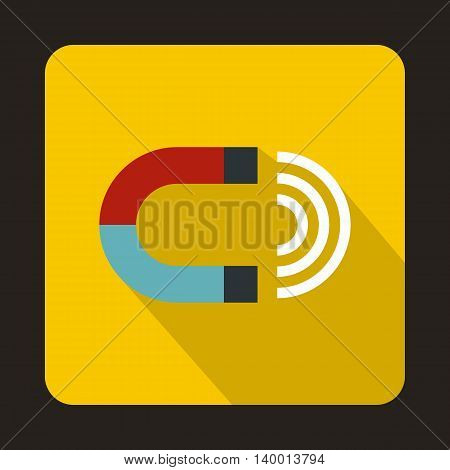 Magnet icon in flat style on a yellow background