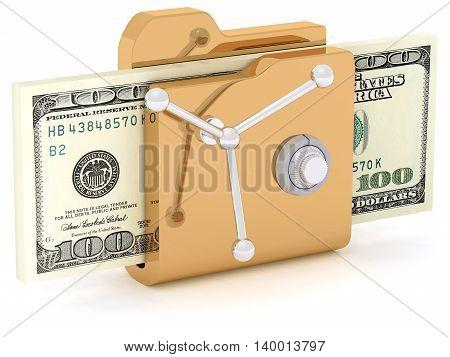 Computer icon for secure folder safe lock 3D illustration