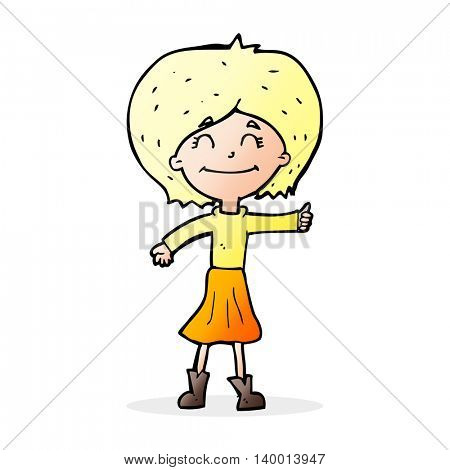 cartoon happy girl giving thumbs up symbol