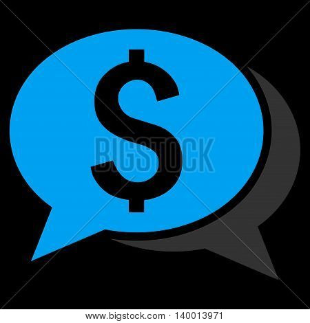 Financial Chat vector icon. Style is flat symbol, blue color, black background.