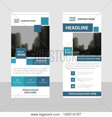 Blue square Business Roll Up Banner flat design template Abstract Geometric banner template Vector illustration set abstract presentation brochure flyer template vertical template vector