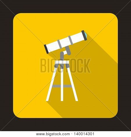 Telescope icon in flat style on a yellow background