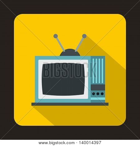Retro TV icon in flat style on a yellow background