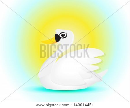 elegance swan cartoon swiming under the sun