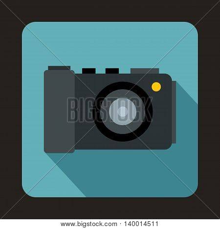 Camera icon in flat style on a baby blue background