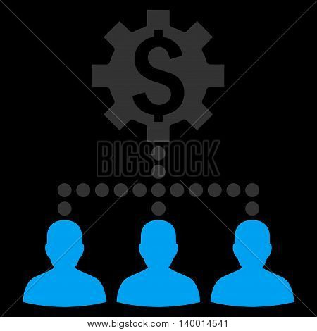 Industrial Bank Clients vector icon. Style is flat symbol, blue color, black background.