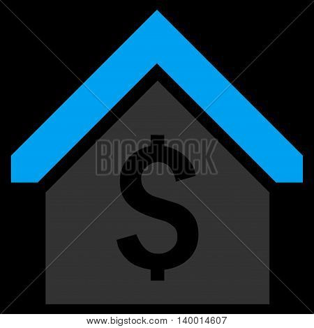 Loan Mortgage vector icon. Style is flat symbol, blue color, black background.