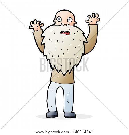cartoon frightened old man with beard