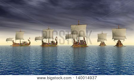 Computer generated 3D illustration with ancient Roman warships