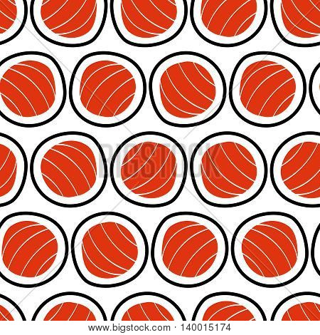 Sushi seamless pattern, hand drawn. Emblem of japanese food, fish snack, susi, exotic restaurant, sea food delivery. Vector illustration.