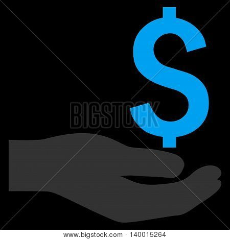 Payment vector icon. Style is flat symbol, blue color, black background.