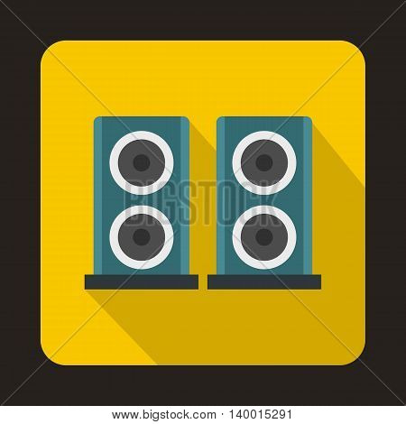 Two audio speakers boxes icon in flat style on a yellow background