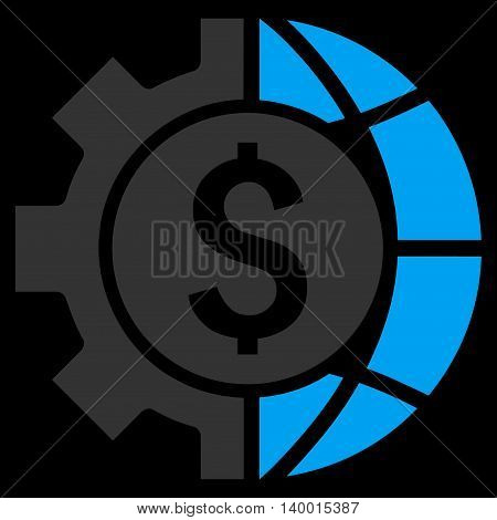 World Industry Finances vector icon. Style is flat symbol, blue color, black background.