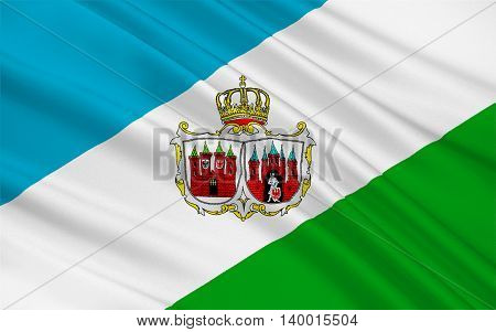 Flag of Brandenburg an der Havel is a town in the state of Brandenburg in Germany. 3d illustration